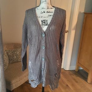 Derek Heart button up long sweater grey small